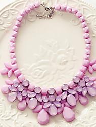 PTZ Женская мода Кристалл Капельки Gem Короткое ожерелье SP066 (фиолетовый)