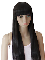 25 Inch European Style Long Straight Black Synthetic Wigs Full Bang