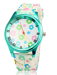 Women's Colorful Flower Green Case Silicone Band Quartz Wrist Watch