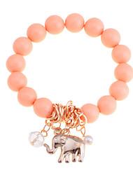 lureme®alloy olifant hanger kraal conneceted armband (verschillende kleuren)