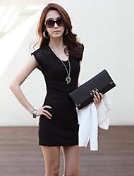 Women's Round Neck Lace Mini Dress , Lace/Others Black/White Bodycon/Work