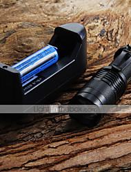 Мини светодиодный фонарик 7W 300LM CREE Q5 светодиодный фонарик Регулируемый фокус Увеличить фонарик + 14500 3.6V батарея + зарядное устройство