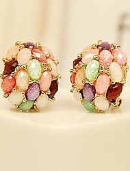 Beautiful Candy Colorfull Round Stud Earrings Gold Plated Jewelry
