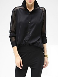 Women's Perspective Joint Turn Down Collar Long Sleeve Chiffon Shirts