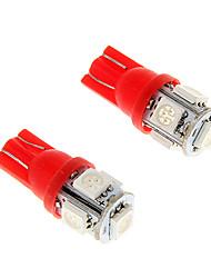 2pcs ghiaccio t10 rosso 5-SMD 5050 194 168 1.3W auto led illumina le lampadine interne