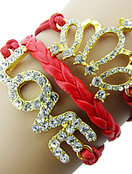 z&forma do amor coroa x® com pulseira de couro wrap strass (1 pc) (mais cores)