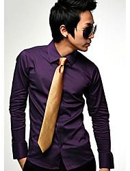 S & M de los hombres del estilo coreano color sólido camisa C16 Purple