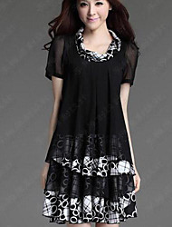 Women's Cowl Chiffon Short Sleeve Layered Dress