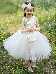 Ball Gown Tea-length Flower Girl Dress - Satin/Tulle Sleeveless