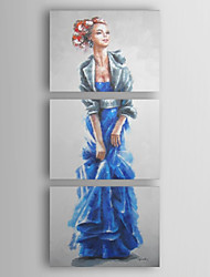 Hand Painted Oil Painting People Modern Lady 01 set of 3