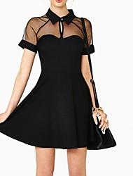 Woman's Sexy Slim Stitching Chiffon Raglan Sleeve  Dress