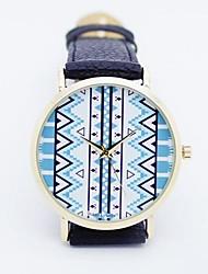 Unisex azteca esfera redonda de cuero banda de cuarzo reloj de pulsera de moda analógica (varios colores)