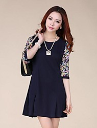 Women's Casual / Lace / Party Patchwork A Line Dress , Round Neck Mini Chiffon