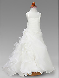 Lanting Bride ® A-line / Princess Floor-length Flower Girl Dress - Organza / Satin Sleeveless Square