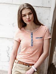 Вери Güde ® Женская круглым воротом Британский Стиль Casual полосатой футболке