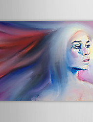 Hand Painted Oil Painting People Girl with Long Hair with Stretched Frame