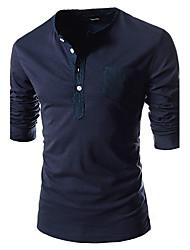 Masculina Primavera New Style Rodada Collor Botão Decoração Relaxamento T-shirt longo da luva