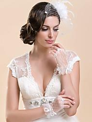 Wrist Length Fingerless Glove Lace Bridal Gloves Spring Summer Fall Rhinestone