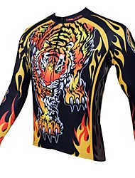 PaladinSport Men's Spring and Summer and Autumn Style 100% Polyester Long Sleeved Cycling Jersey(Tiger)