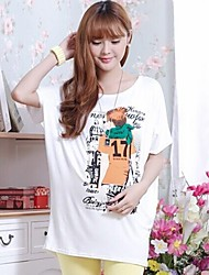 Character Cartoon Printed Batwing T shirt for Pregnant Women Loose Maternity Tops Clothes