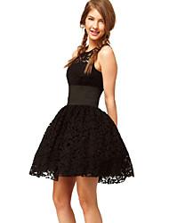Vestido Encaje Negro Luna Mujeres Domingo