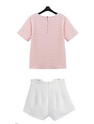 Em torno do pescoço do terno cor sólida das PeiPei Mulheres (T-shirt e calças curtas)
