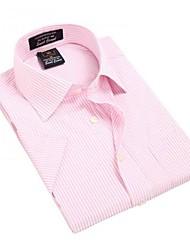 Turn-down col de U-requin hommes d'affaires manches courtes Modal Fibre shirts rayé rose Blouse Top EOZY MD-006