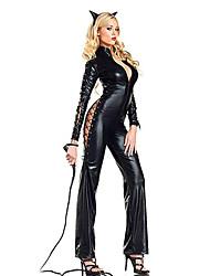 Disfraz de Halloween Two-Faced Catwoman Negro Cuero de la PU de la Mujer