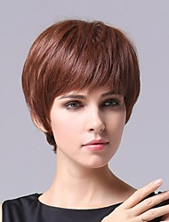 Capless Short  Dark Auburn Wavy 100% Human Hair Wigs