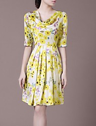 Women's Floral Yellow Dress , Sexy/Party Cowl ½ Length Sleeve Pleated