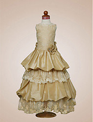 A-line/Princess Floor-length Flower Girl Dress - Satin/Taffeta Sleeveless