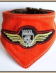 Aigle brodé orange tissu de velours côtelé avec cuir véritable chiot collier de Bandana pour Animaux Chiens (assorties Tailles)