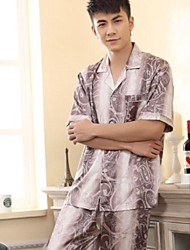 Мужская Досуг короткими рукавами Шелковая пижама