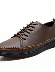 Men's Spring Summer Fall Comfort Leather Office & Career Casual Flat Heel Lace-up Tan Black Brown Green