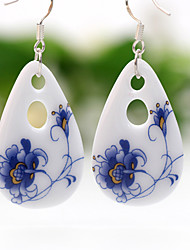 Blue and white Handwork Original Ceramic Ethnic Style Earrings(Blue)