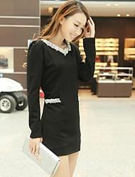 корейский V шеи воротник жемчуг тонкий мини-платье женская