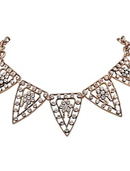 JANE STONE Fashion Gold Chain Women Necklace with Triangle Shaped Pendant