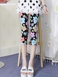 Женская обладающий нормальным цветовым зрением Цветок Граффити печати Bodycon Хлопок обрезанные брюки
