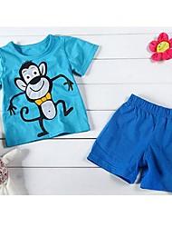 Jungen Kurzarm Rundhals Sky Blue Monkey T-shirts + Deep Blue kurze Hosen Baumwolle Twinset