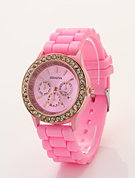 Cdong Korean Diamond Sports Silicone Watch (Pink)