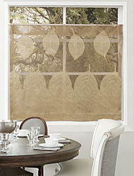 (One Panel) Retro Country Coffee Leaves Pattern Kitchen Sheer