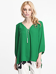 Women's Solid Blue/Green Blouse/Shirt , V Neck ¾ Sleeve
