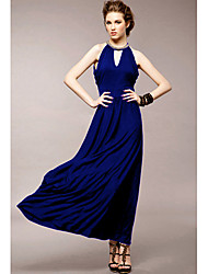 Coco Sunday Women's  V Neck Out Cut Long Dress Royal Blue
