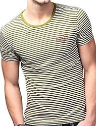 Été de U-requin hommes Casual col rond blanc vert rayé de mode T-shirts Sauvegarde shirt EOZY
