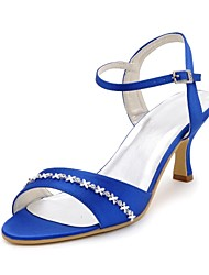 Women's Shoes Satin Spring / Summer / Fall Heels / Open Toe Wedding / Party & Evening Spool Heel RhinestoneBlack / Blue / Yellow / Pink /