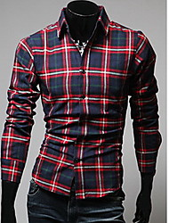 Men's Long Sleeve Shirt , Cotton Blend/Others Casual