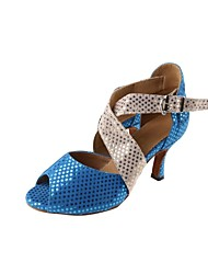 Customized Woman's Blue and Silver Star Patent Leather Latin Ballroom Shoes