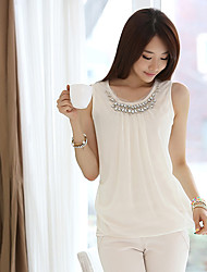 E-brillance perle de chemise sans manche des femmes