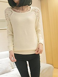 Women's Multi-color Pullover , Casual/Lace Long Sleeve