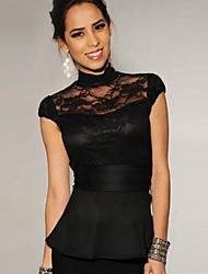Women's Lace Accent Peplum Top Vest